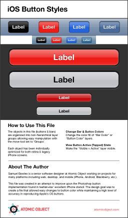 Photoshop Template for iOS Buttons