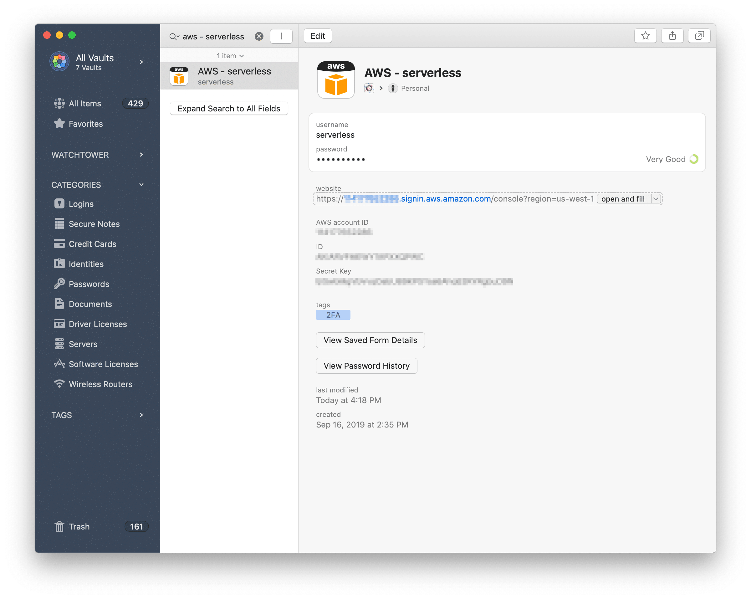 1Password configuration for an AWS account