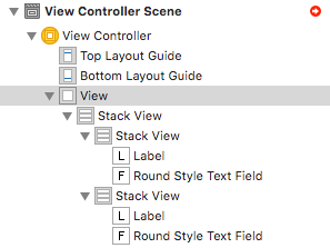 UIStackView fill document outline