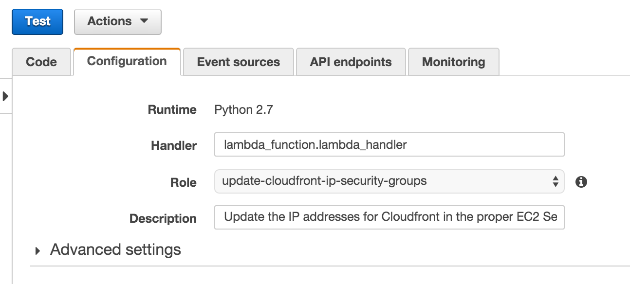 Managing AWS CloudFront Security Group with AWS Lambda