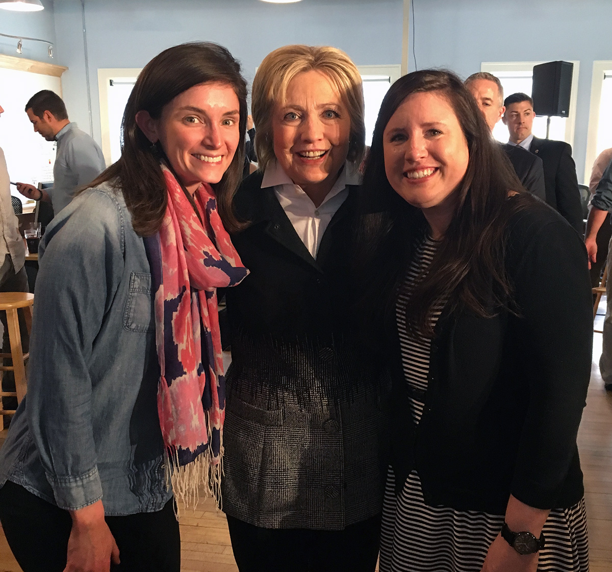 Atoms Julia Jamieson and Kimberly Wolting with Secretary Clinton.