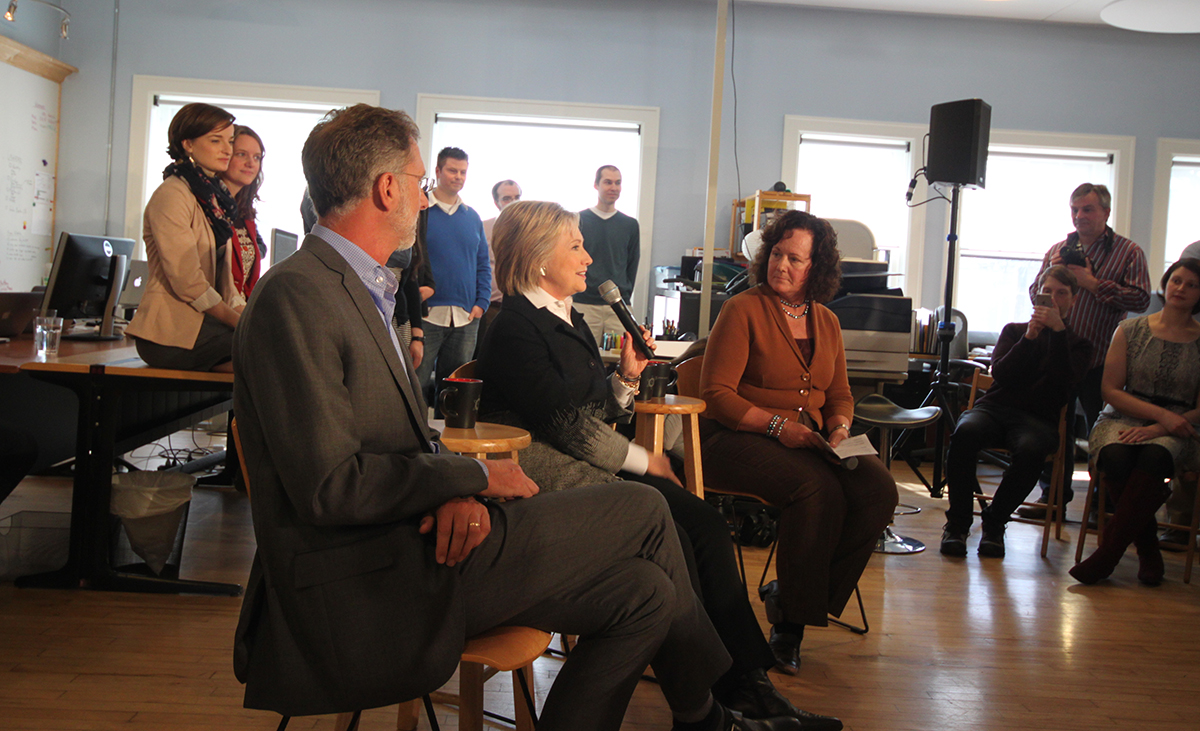 Secretary Clinton answering questions at a town hall-style meeting.