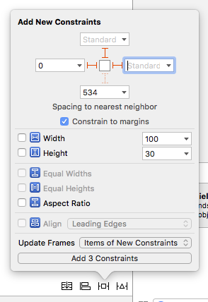 A screenshot of the Add New Constraints menu in UIStackView