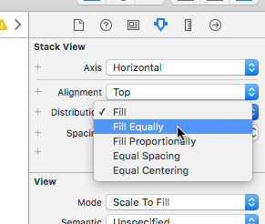 A screenshot showing a user setting Stack View to fill equally