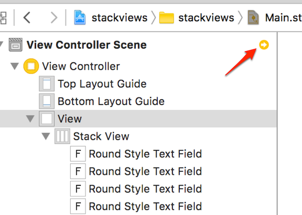 A screenshot of Auto Layout warning in StackView