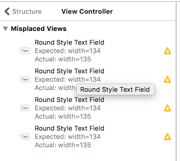Screenshot of an auto layout warning detail in StackView