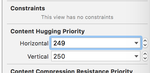 A screenshot of a user adding content hugging priorities to the fields in StackView.