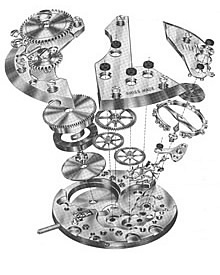 A drawing of a broken out view of mechanical watch movement parts