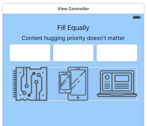 A screenshot of the Fill Equally option using the View Controller