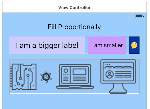 A screenshot of the Fill Proportionally option using the View Controller