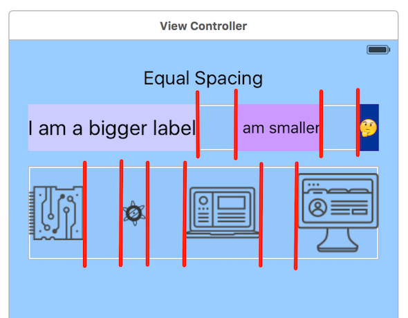 Equal Spacing option using the View Controller