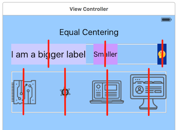 A screenshot of the Equal Centering option in the View Controller