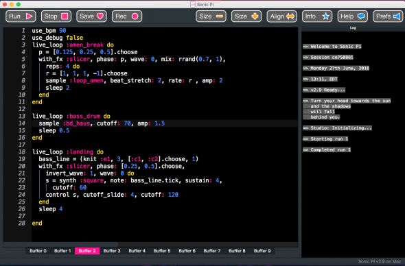 Learning to write music with Sonic Pi