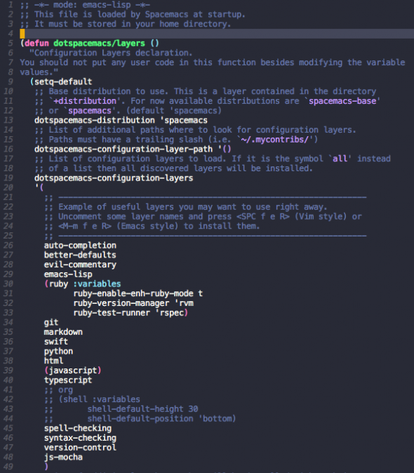 Spacemacs Layers Screenshot