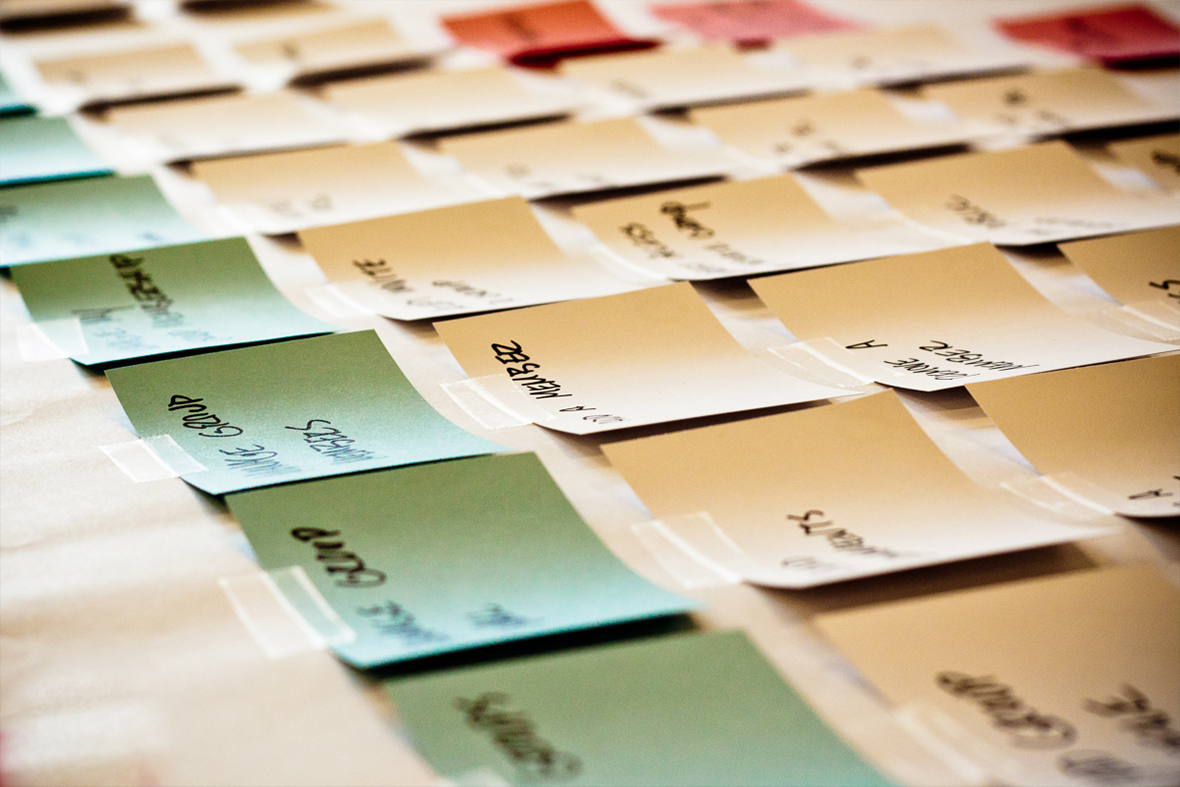 Sticky Notes lined up on a table