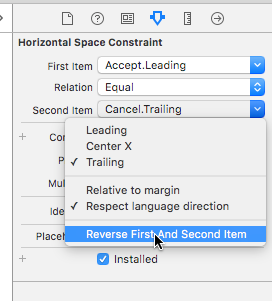 "Screenshot of horizontal space constraint menu with ""reverse first and second item"" selected"