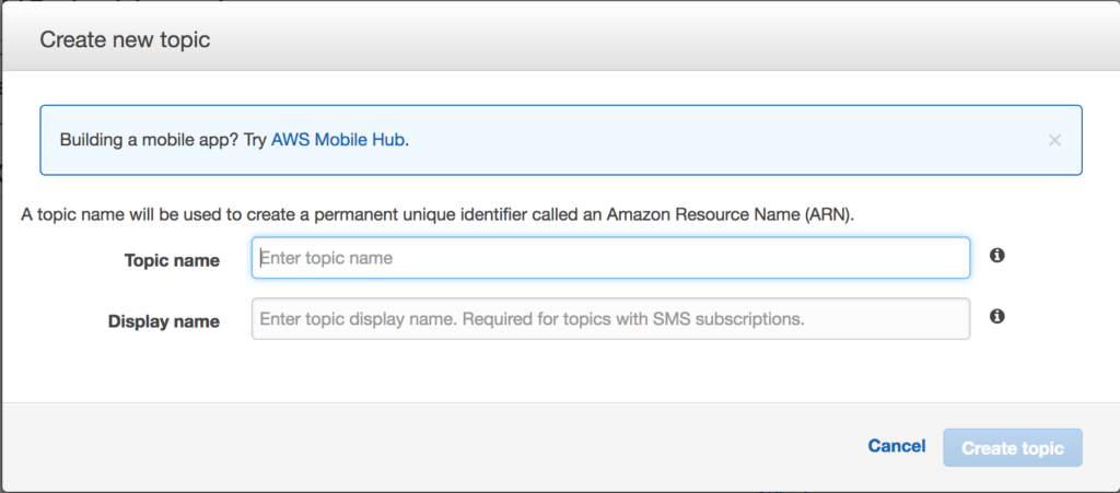 Amazon DRS - SNS Create Topic