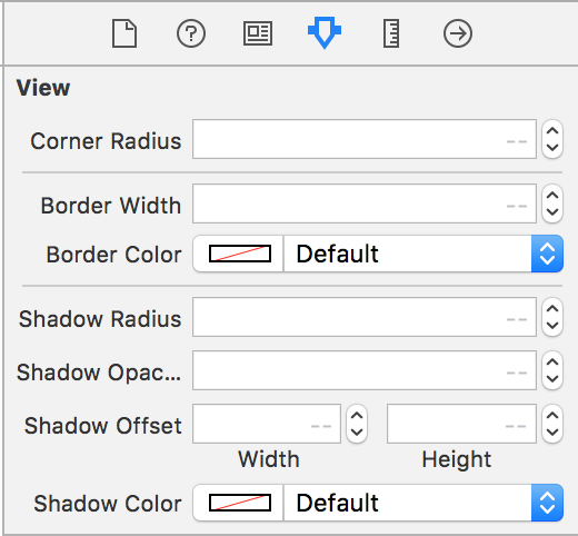 Attributes Inspector with border shadow and corner radius