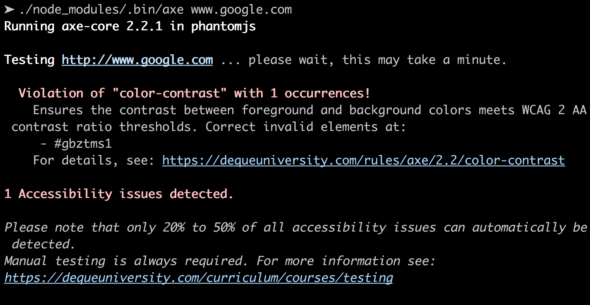 Accessibility testing with aXe-cli.
