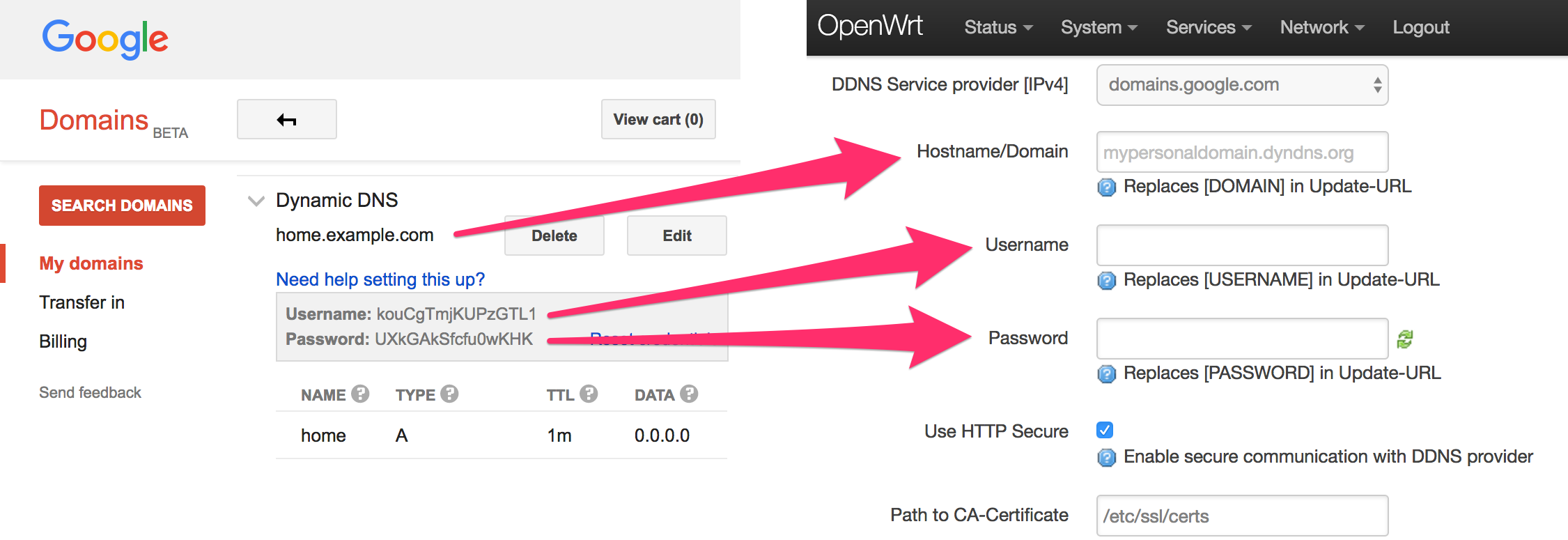 DIY Dynamic DNS with OpenWRT and Google Domains