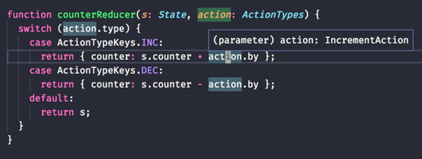 Code example of a reducer that is fully typed by TypeScript.