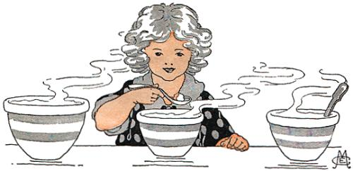 Image of Goldilocks picking a porridge.