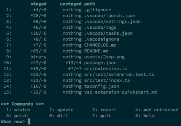 Results of git add --interactive