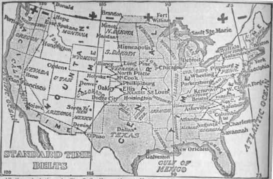 Time zone map of US, 1913