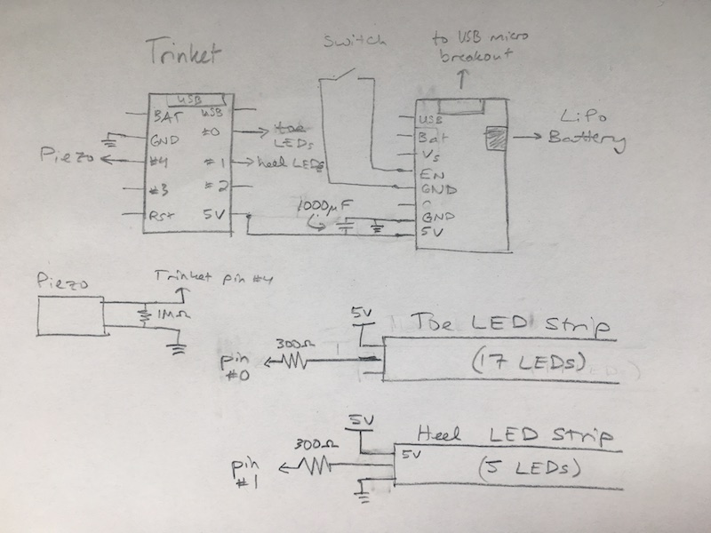 LED shoe schematic