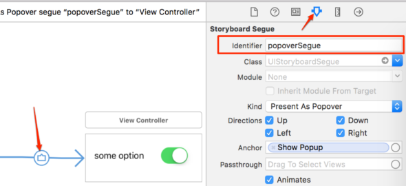 set identifier for popover segue