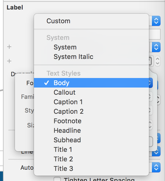 Setting body text style on label