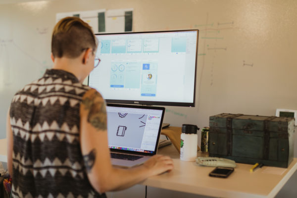 A software designer creating user interfaces