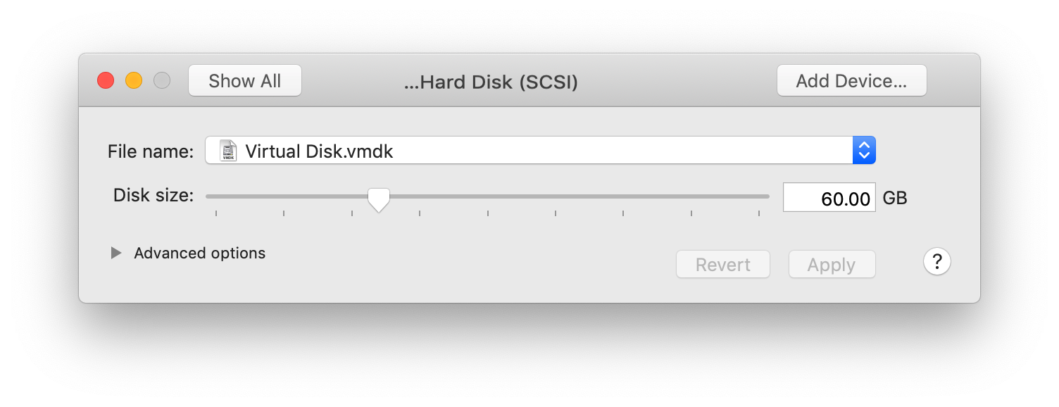 The VMware Fusion Hard Disk settings dialog. It shows a Disk size slider set to 60.00 GB.