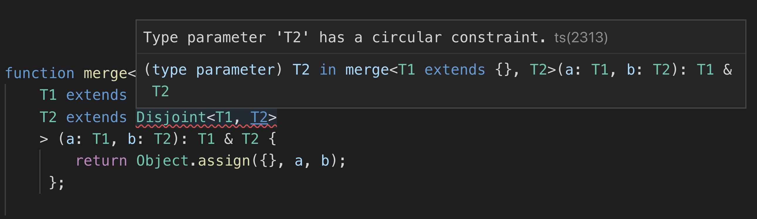 Circular constraints in generic types