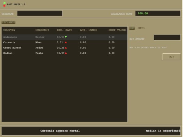The trading screen of Root Maker 1.0
