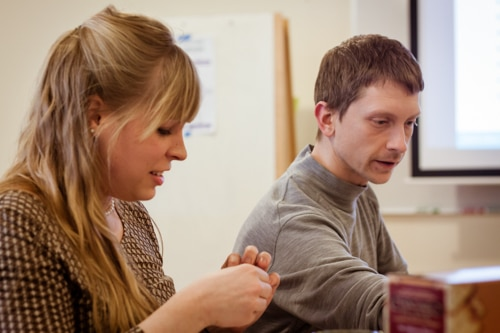 Brittany and Matt at a workshop.