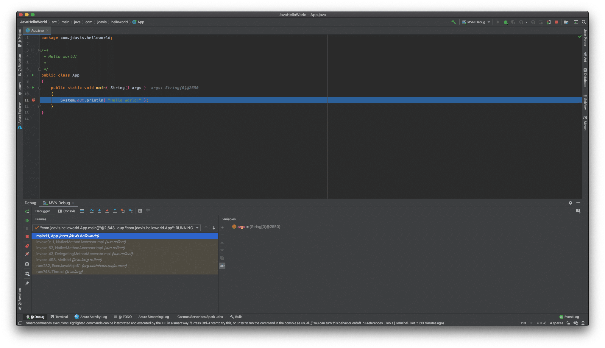 Image showing IntelliJ debugging suite activated on Maven project.