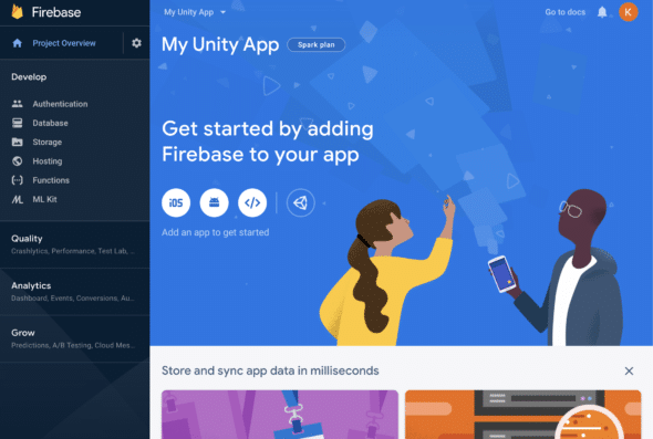 Firebase main app console page.