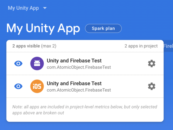 Firebase project with two apps.