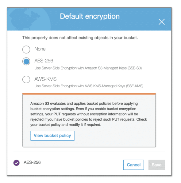 Default Encryption options panel