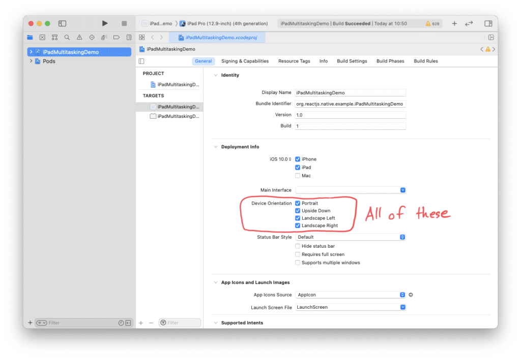 All four device orientation boxes need to be checked in Xcode in order for Split View and Slide Over to work properly