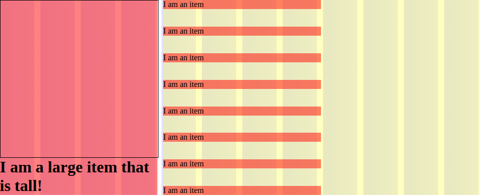 Adding flexbox column styles to list-of-items spreads the item elements vertically to fill the list-of-elements container.