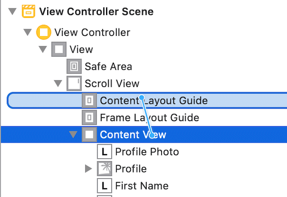 drag constraint from content view to content layout guide