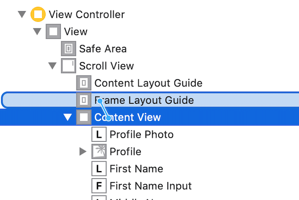 drag constraint from content view to frame layout guide