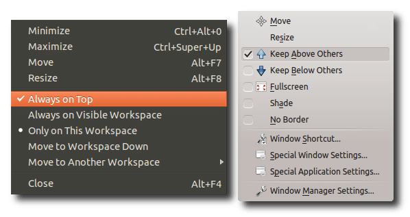 Setting a window to stay above other windows in GNOME (left) and KDE (right).