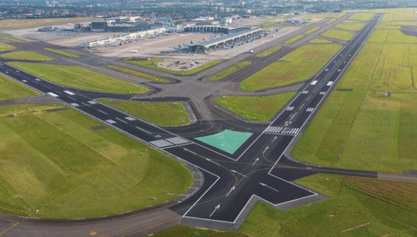 Image of two airplane runways