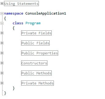 Collapsed view in Visual Studio