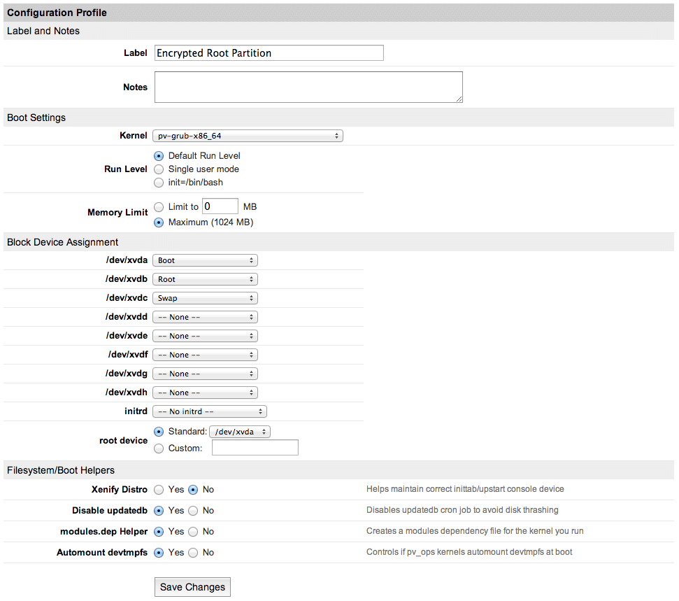 Configuration Profile for Linode, example for booting a Linux system with an encrypted root partition using LUKS.