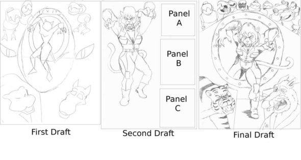 Image of a comic panel going through three drafts.