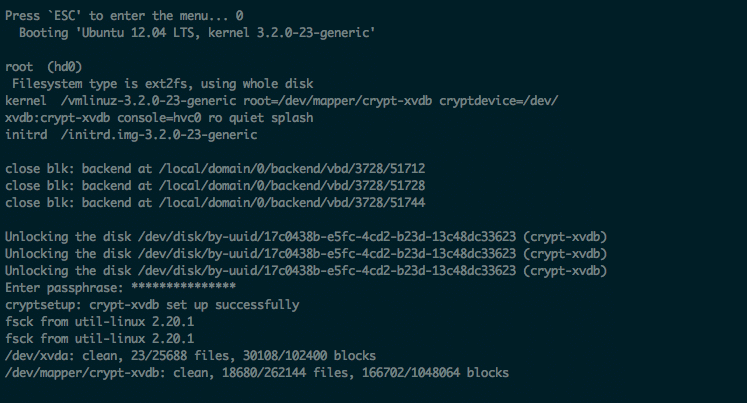 Successfully booting to an encrypted root partition with LUKS on Linode.